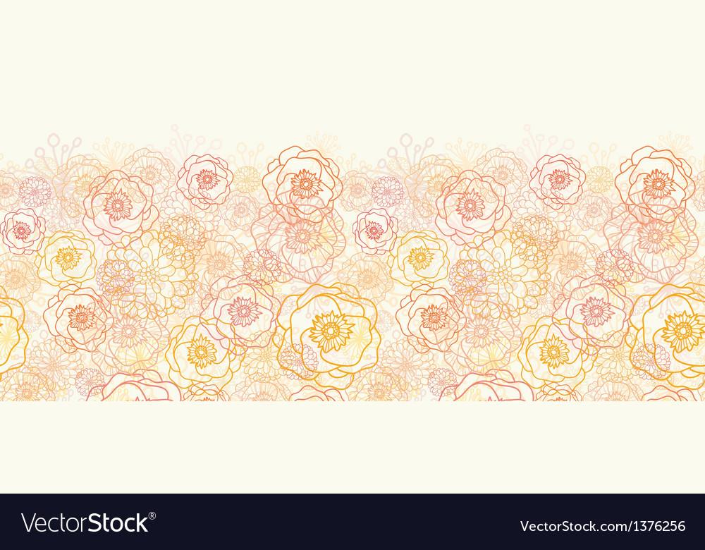 Warm flowers horizontal seamless pattern vector image