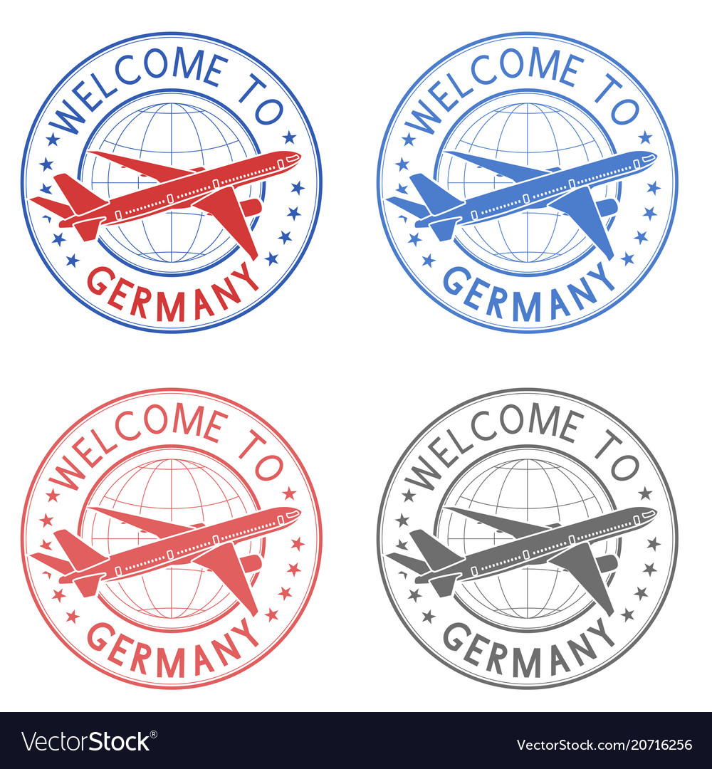 Welcome to germany travel stamps set with plane