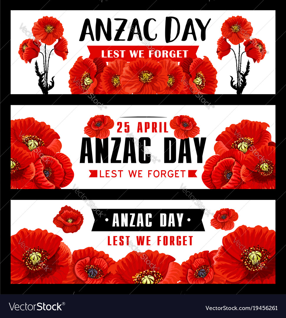 Anzac remembrance day banner with red poppy flower anzac remembrance day banner with red poppy flower vector image mightylinksfo