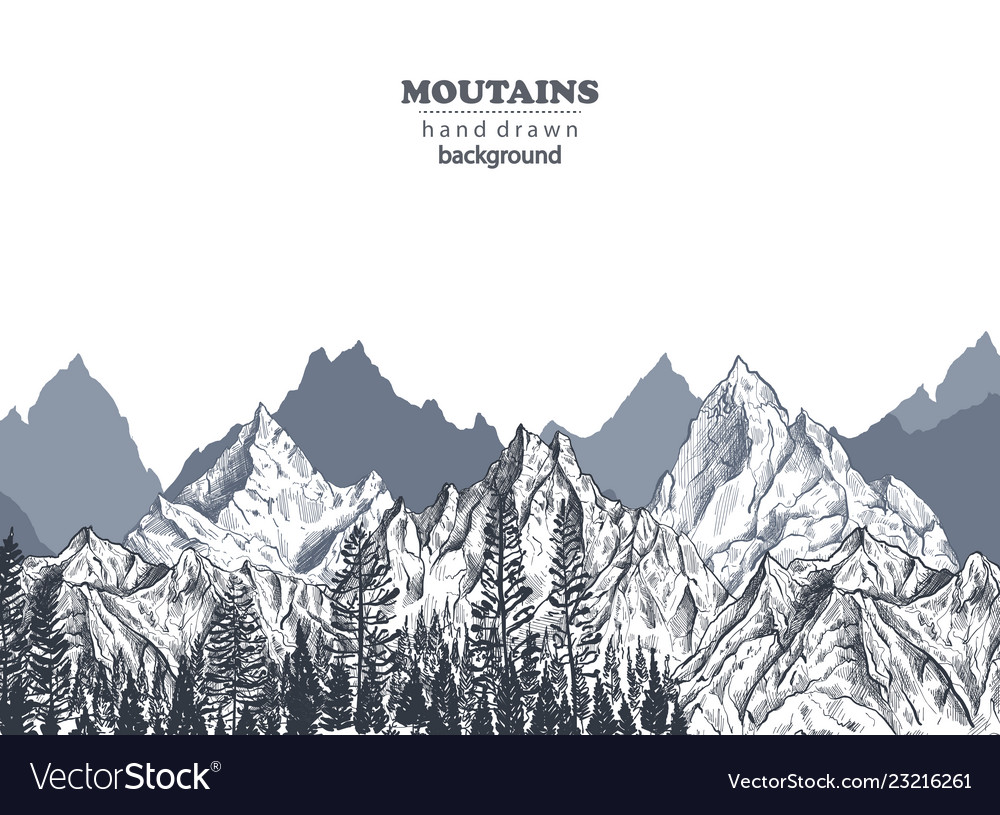 Background with hand drawn graphic mountain