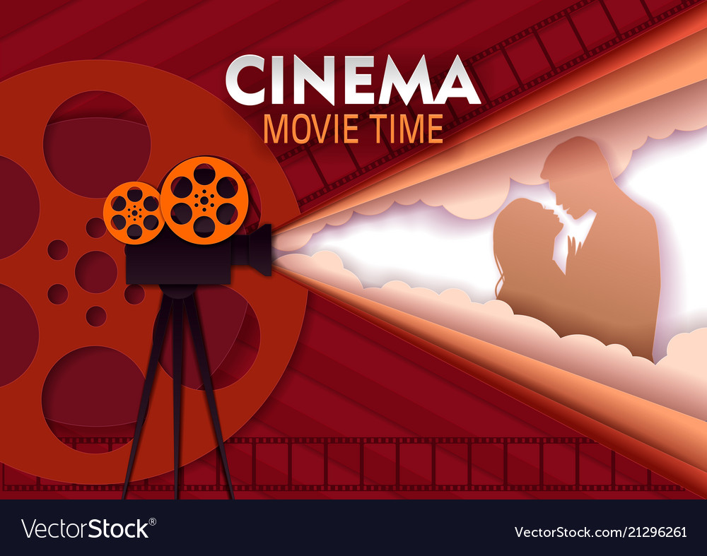 Cinema movie time paper cut poster template
