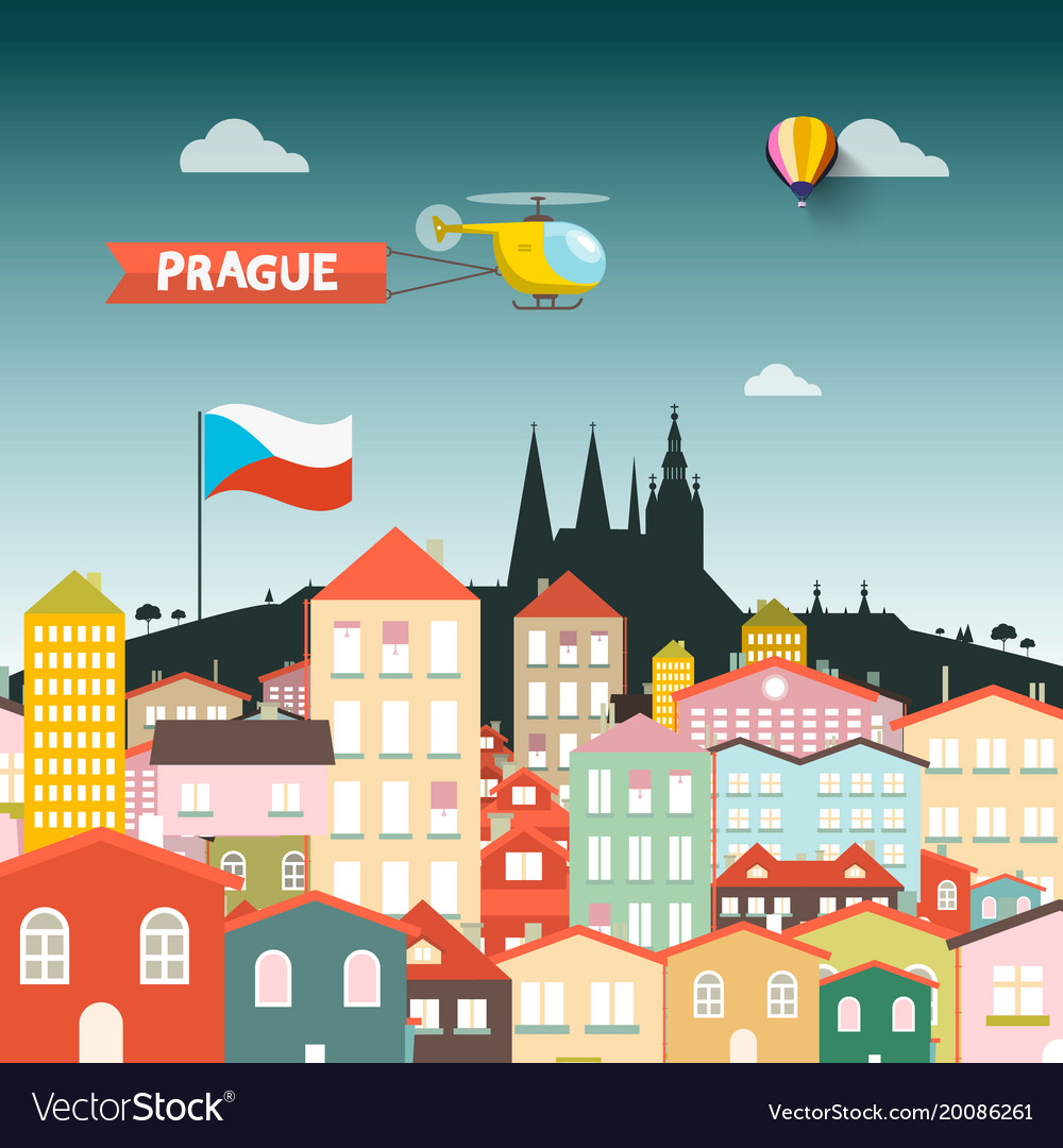 Prague castle with buildings flat design