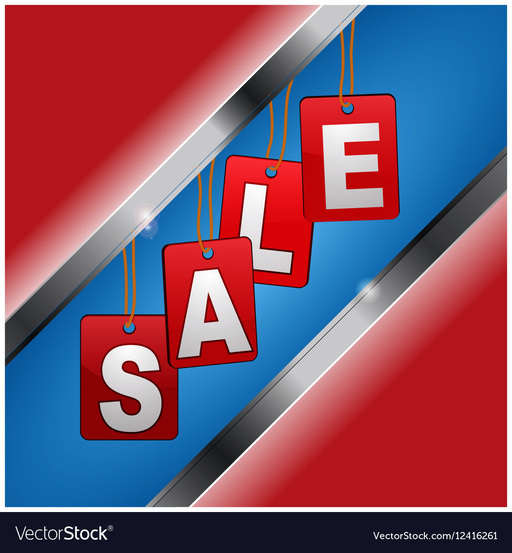 Sales sigh with red tags and white letters over vector image