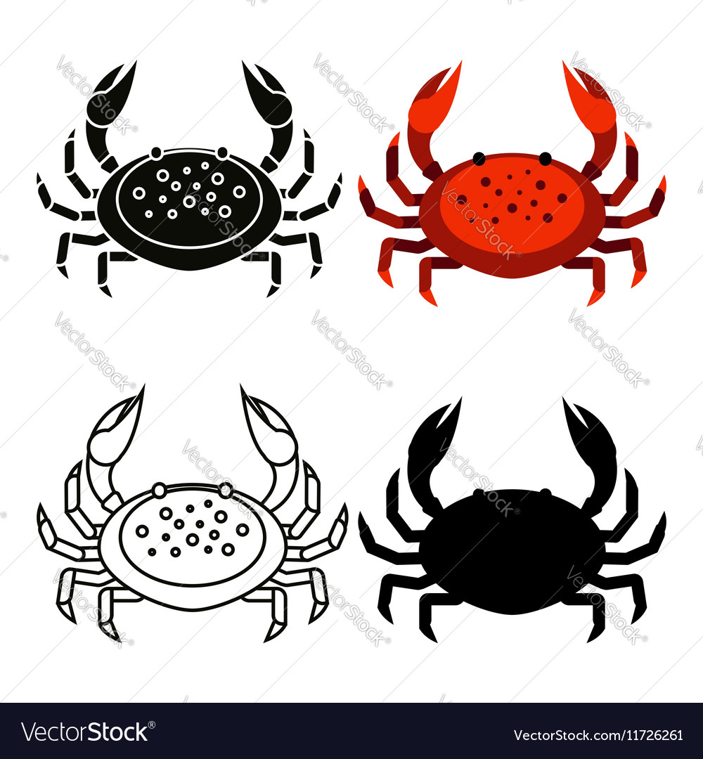 Set of flat red black crab isolated on white