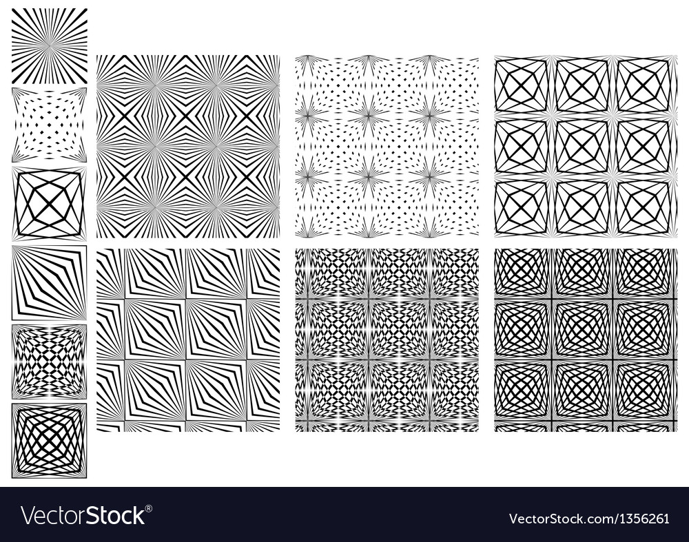 Set Seamless Black And White Lines Patterns