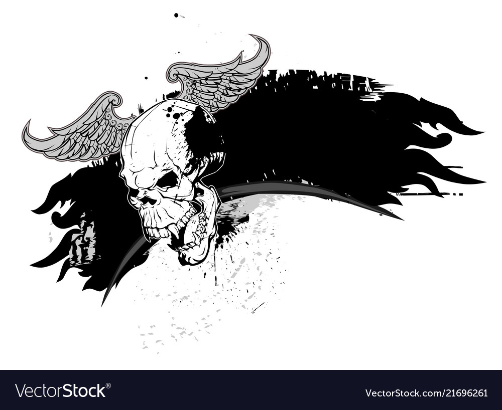 Skull and grunge elements and flames