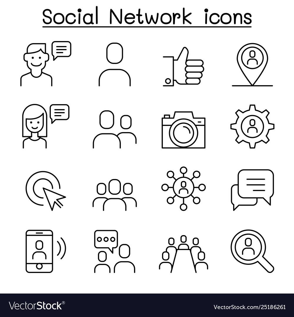 Social network social media icon set in thin line