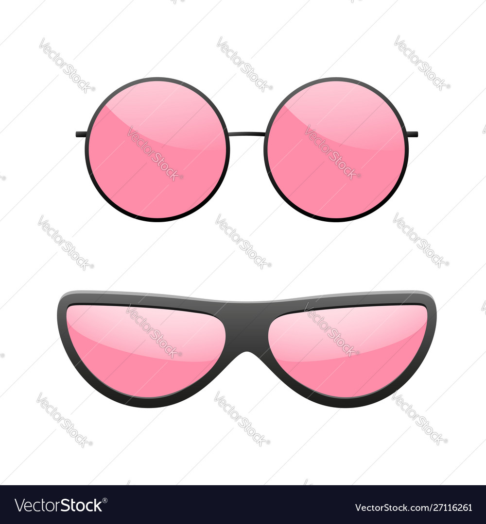 Sunglasses icons set pink sun glasses isolated