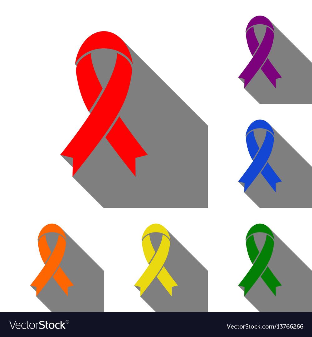 Black awareness ribbon sign set of red orange