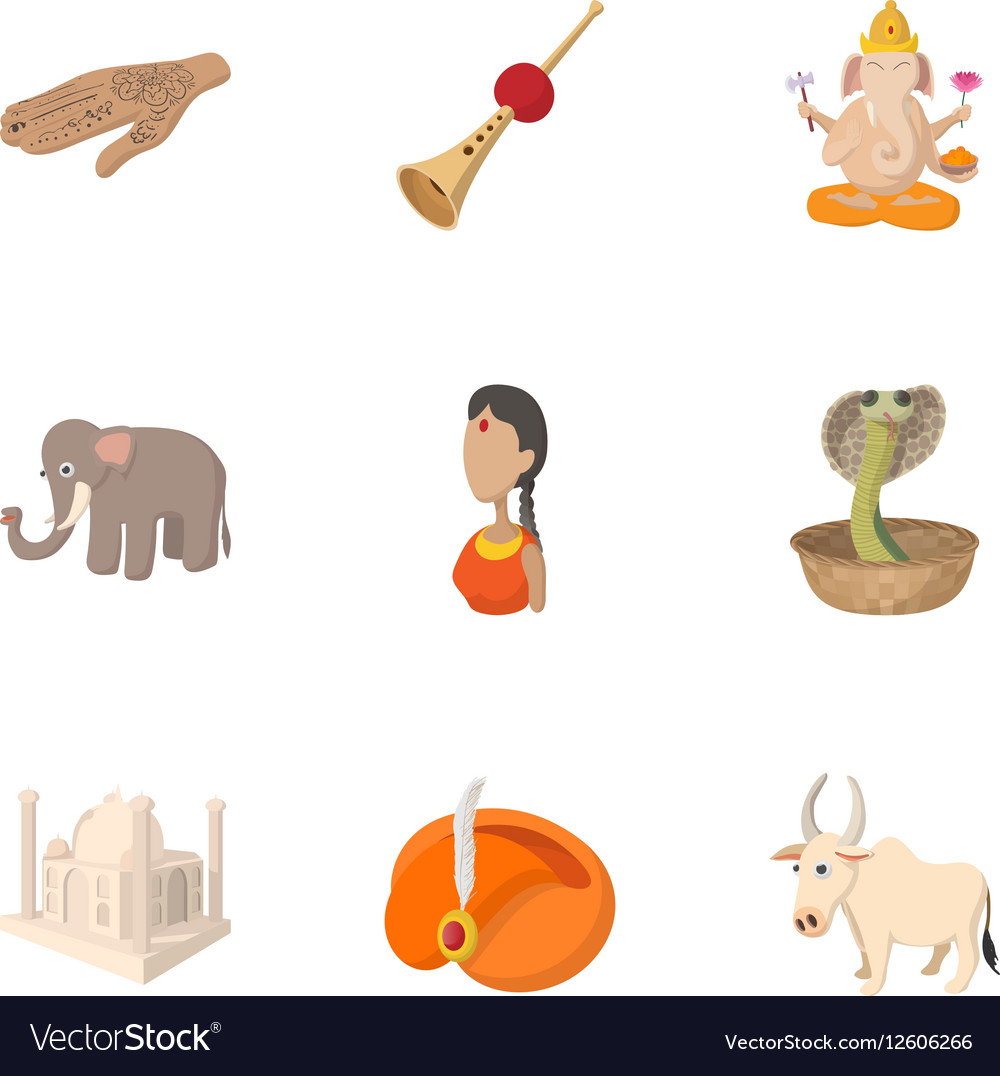 Country of India icons set cartoon style