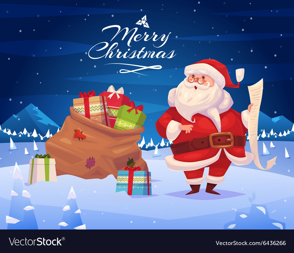 Funny santa Christmas greeting card background
