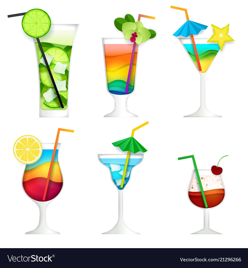 Paper cut cocktail summer drink icon set