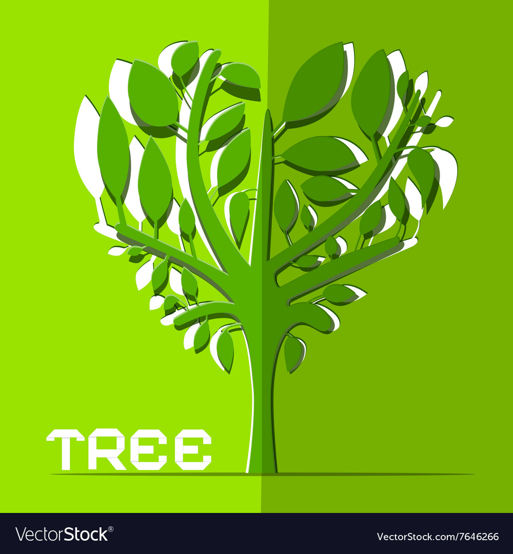 Paper Cut Tree on Green Background