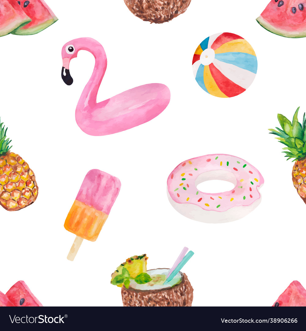 Seamless pattern with cute summer vacation objects