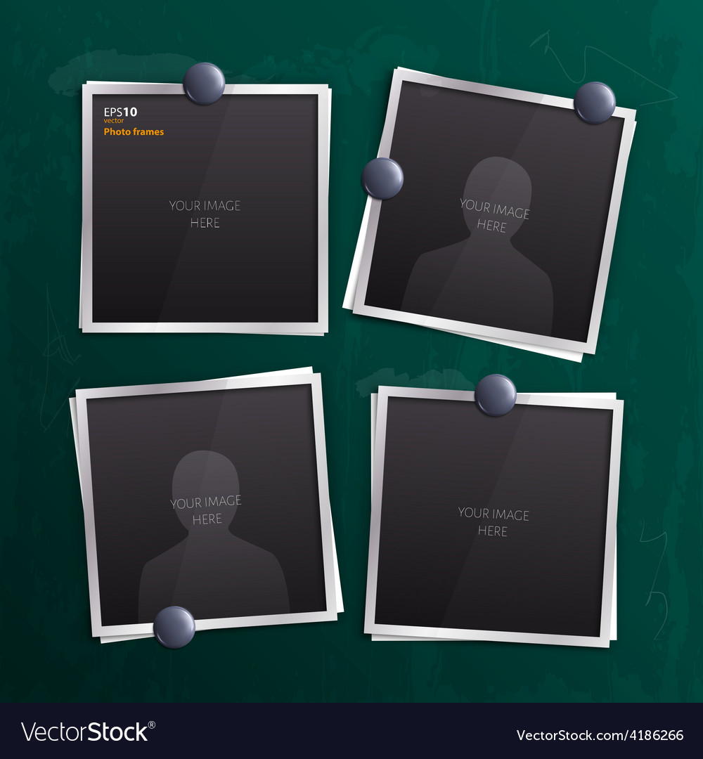 Set of empty photo frames on chalkboard