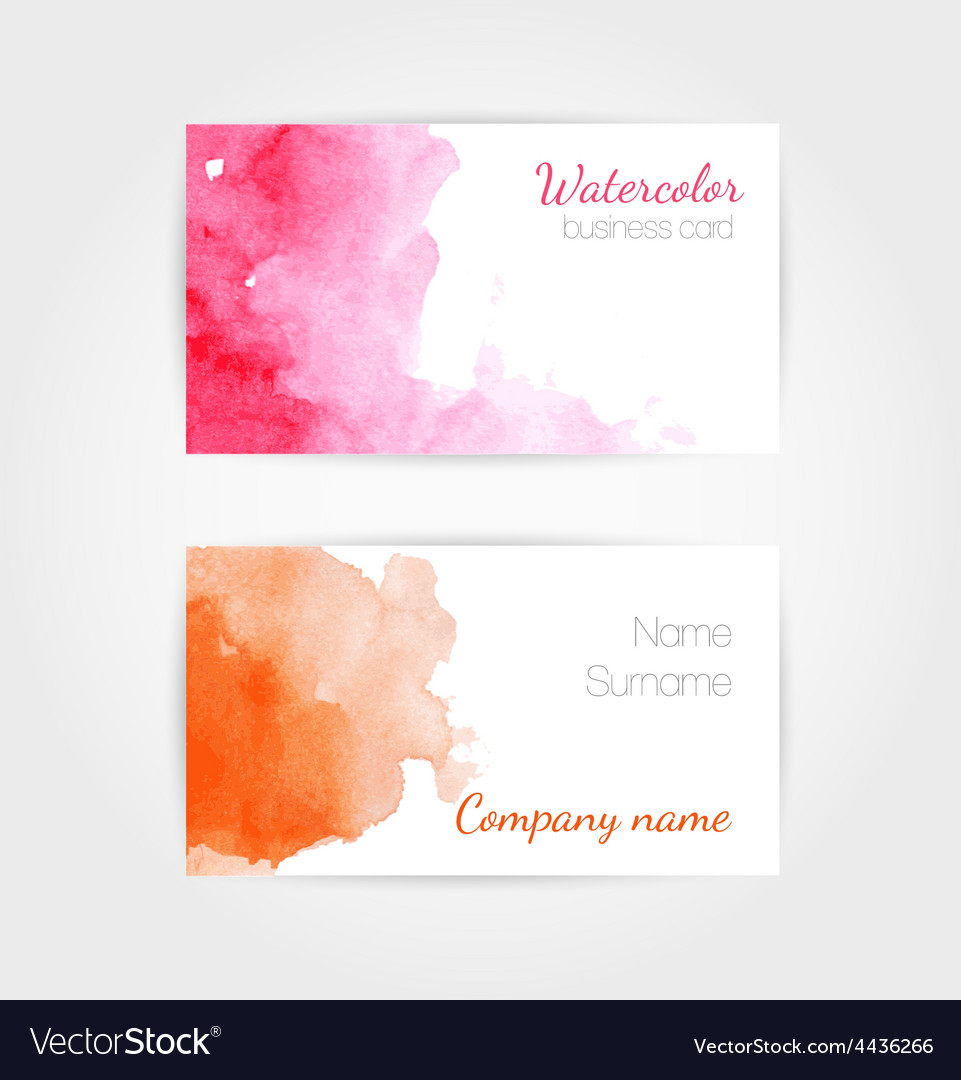Set of watercolor business cards template vector image reheart Gallery