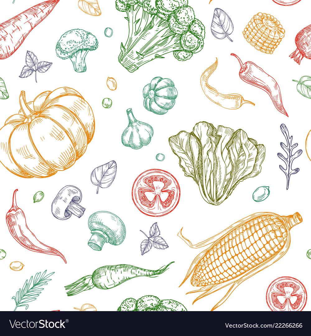 Sketch vegetables seamless pattern vegetable soup
