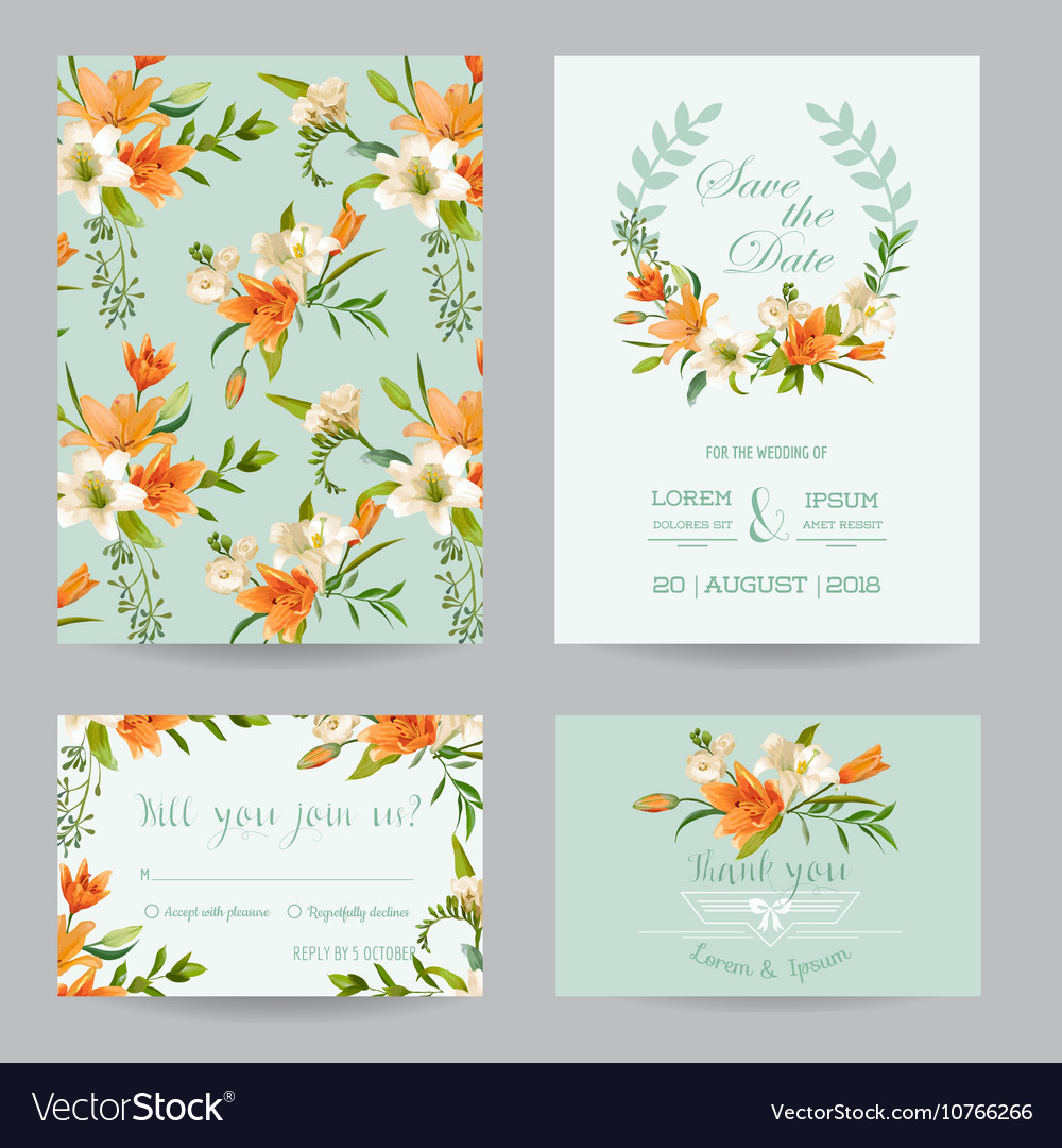 wedding invitation set autumn lily floral theme vector image