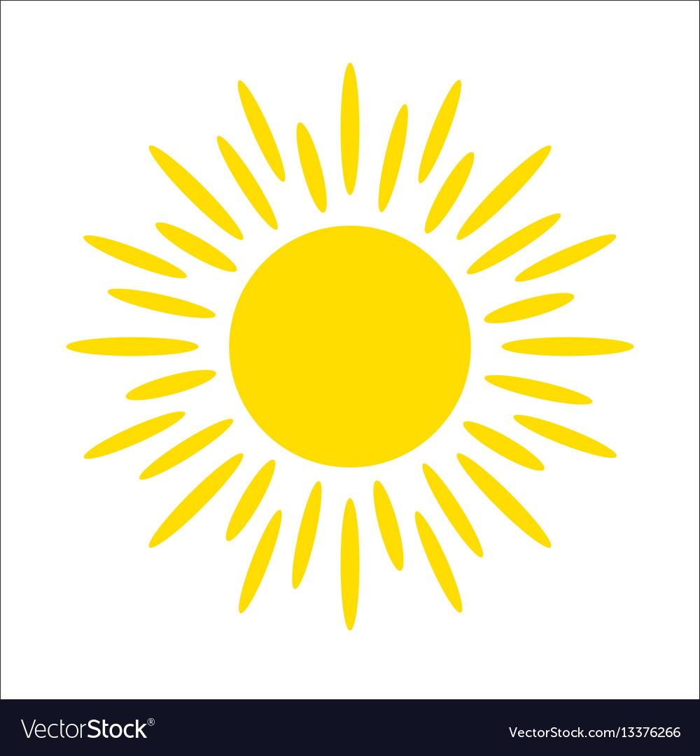 Yellow sun icon isolated on white background flat