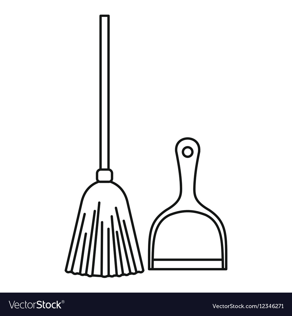 Broom and dustpan icon outline style vector image