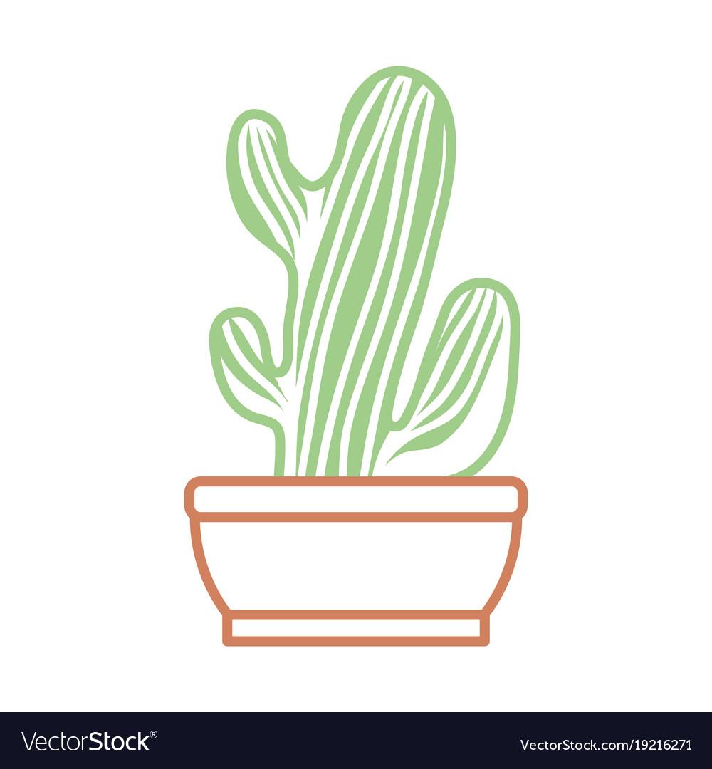 Cactus In Pot Draw Royalty Free Vector Image Vectorstock