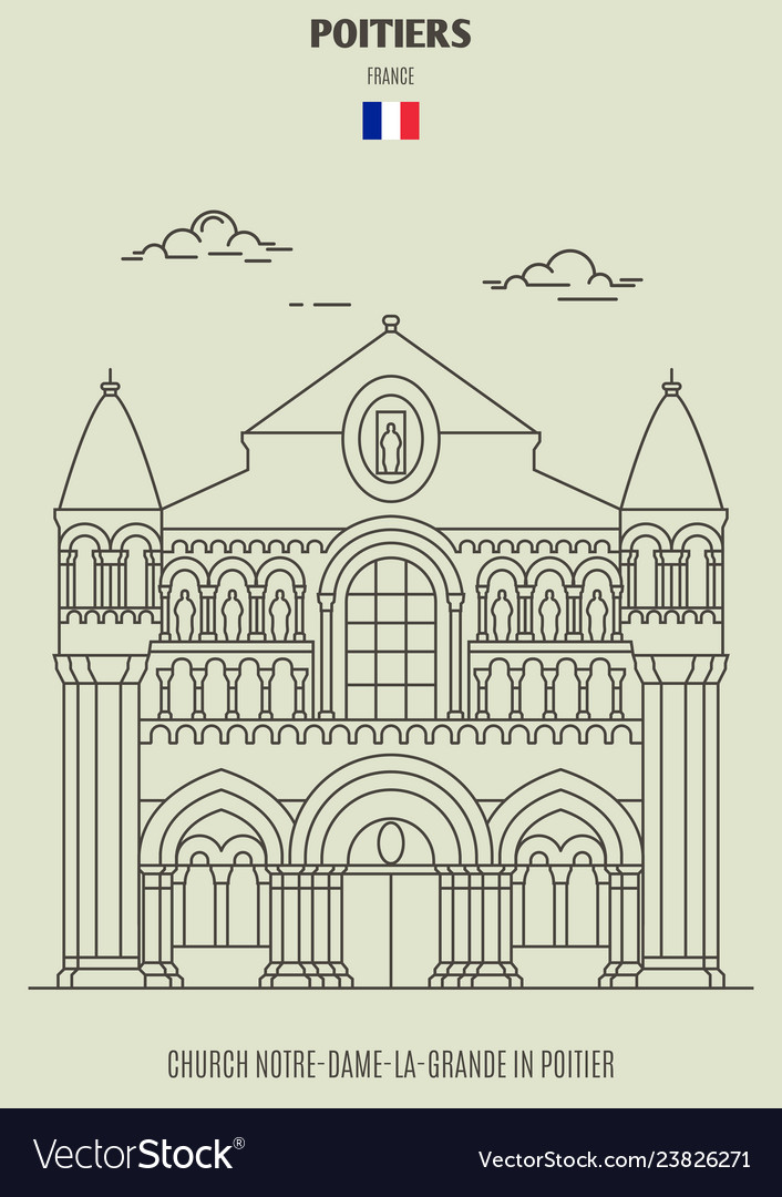Church Notre Dame La Grande In Poitier Royalty Free Vector