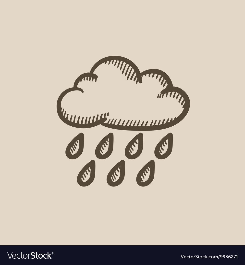 Cloud and rain sketch icon