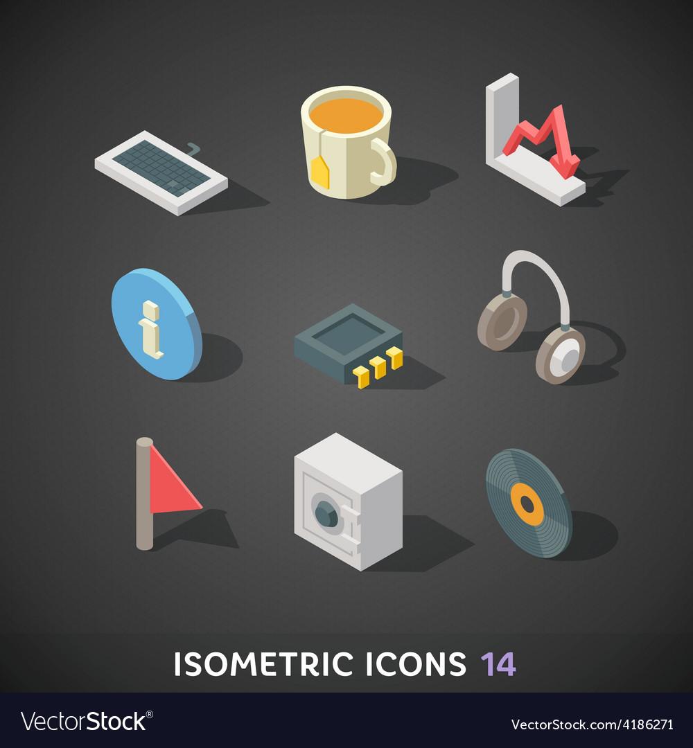 Flat Isometric Icons Set 14