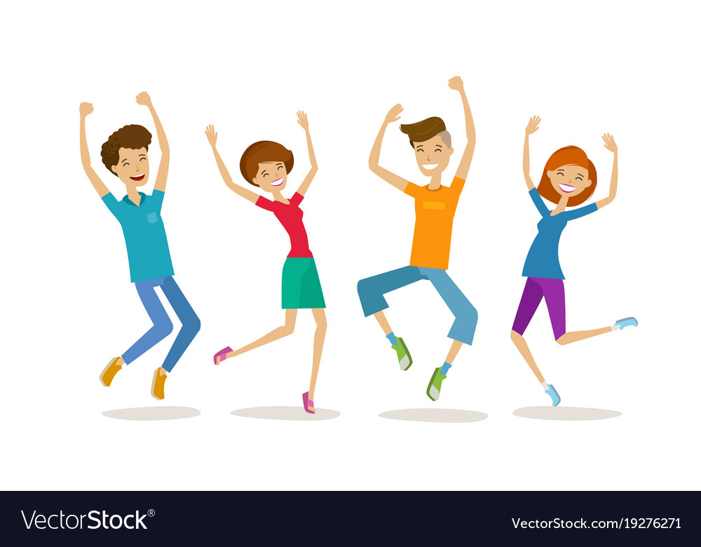 Happy young people teenagers partying cartoon