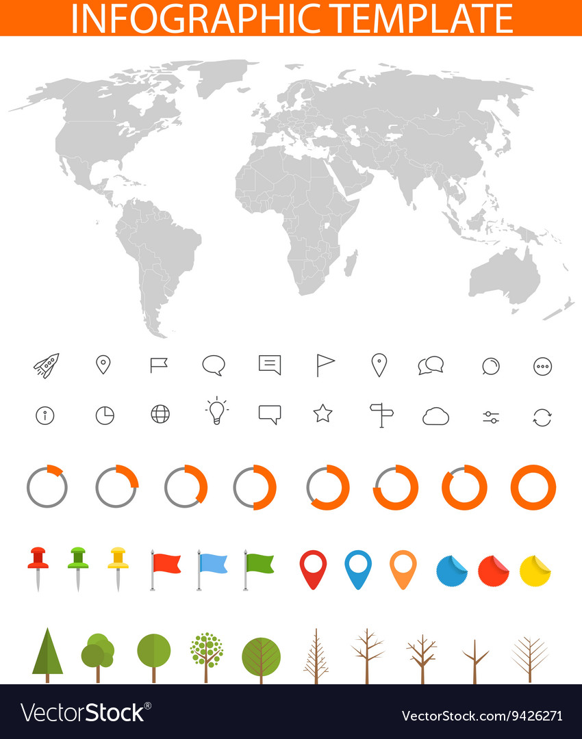 Infographics Earth map and different charts and