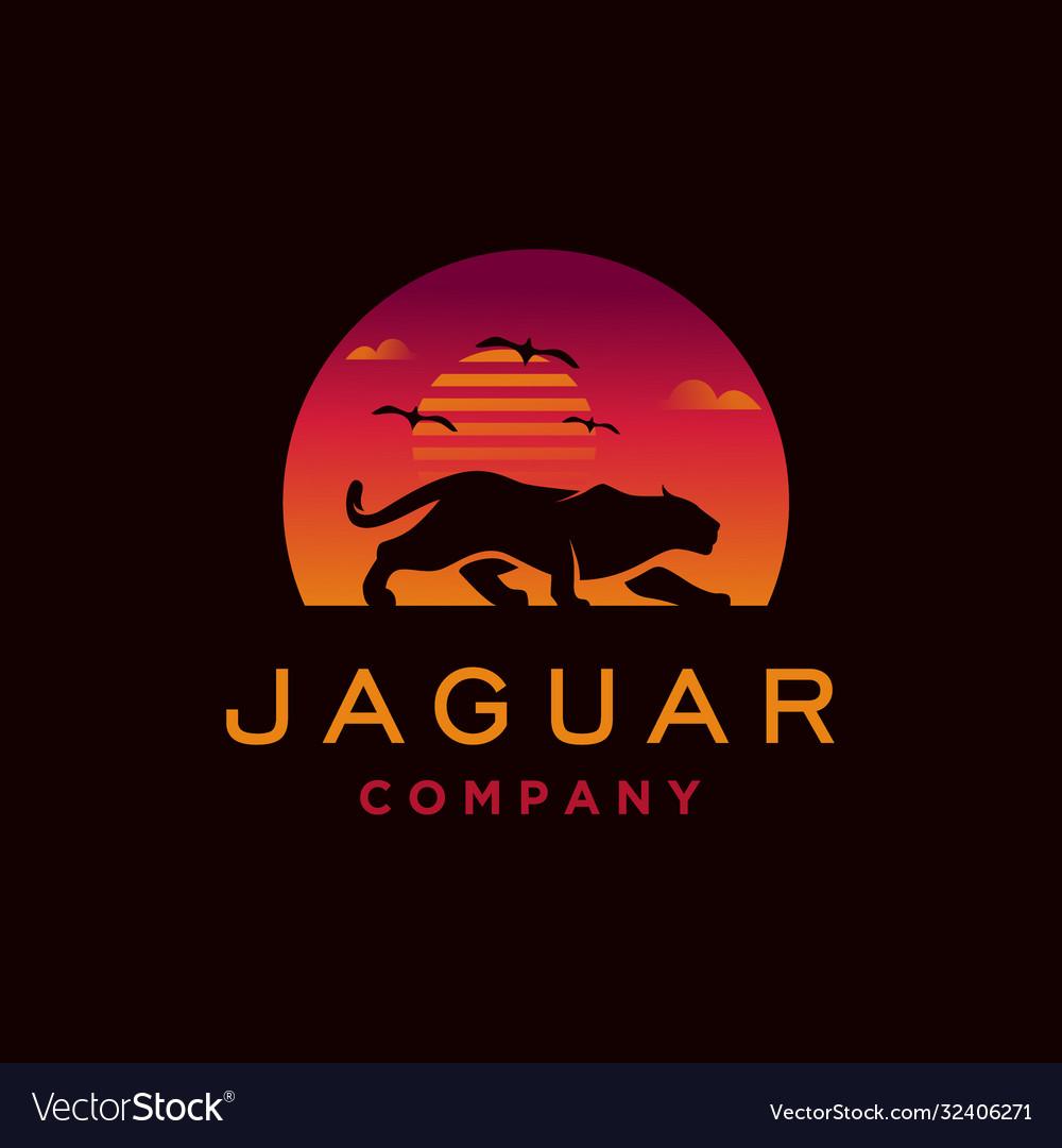 Jaguar with sunset logo design