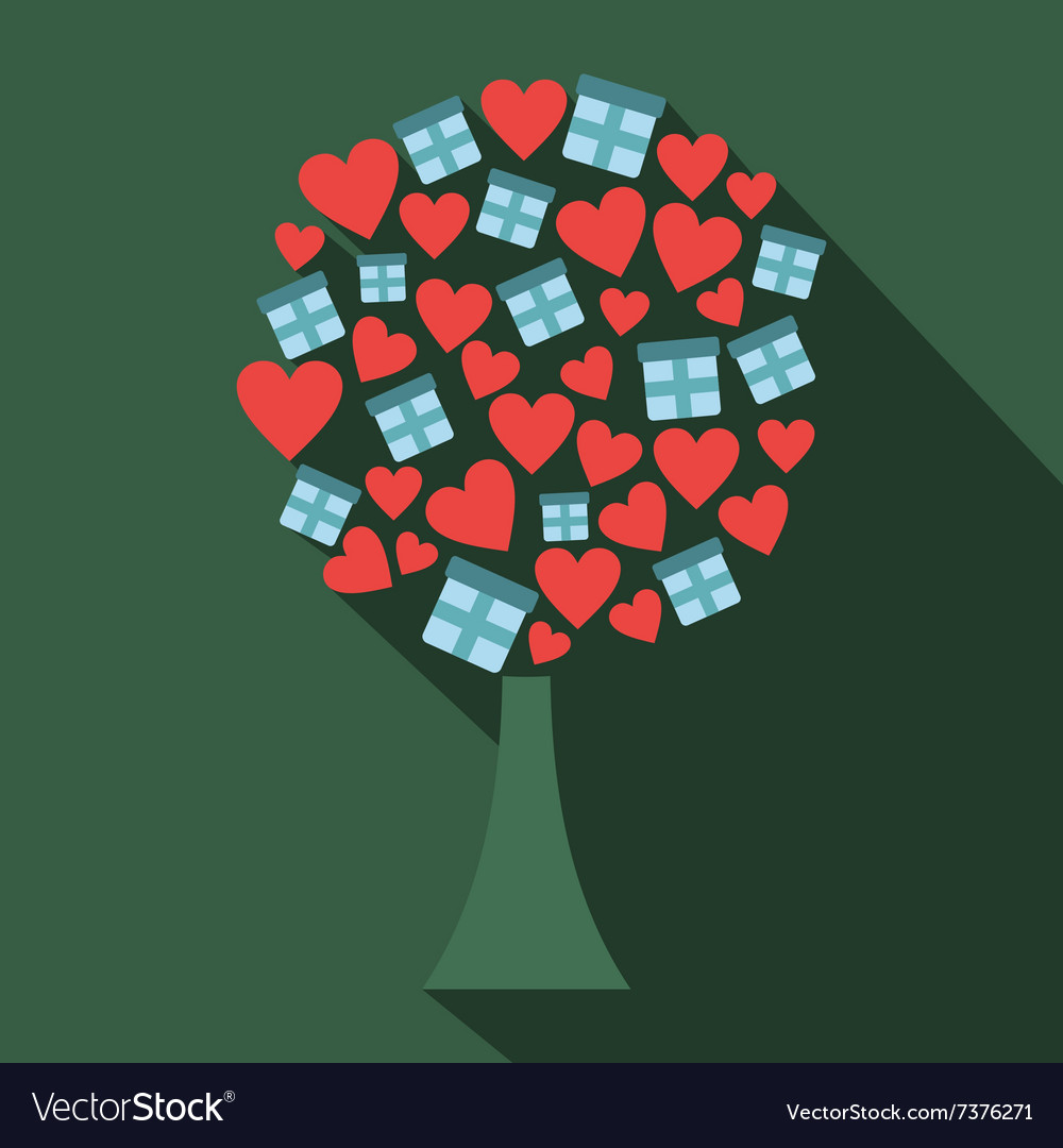 Love tree with hearts and gift boxes flat icon