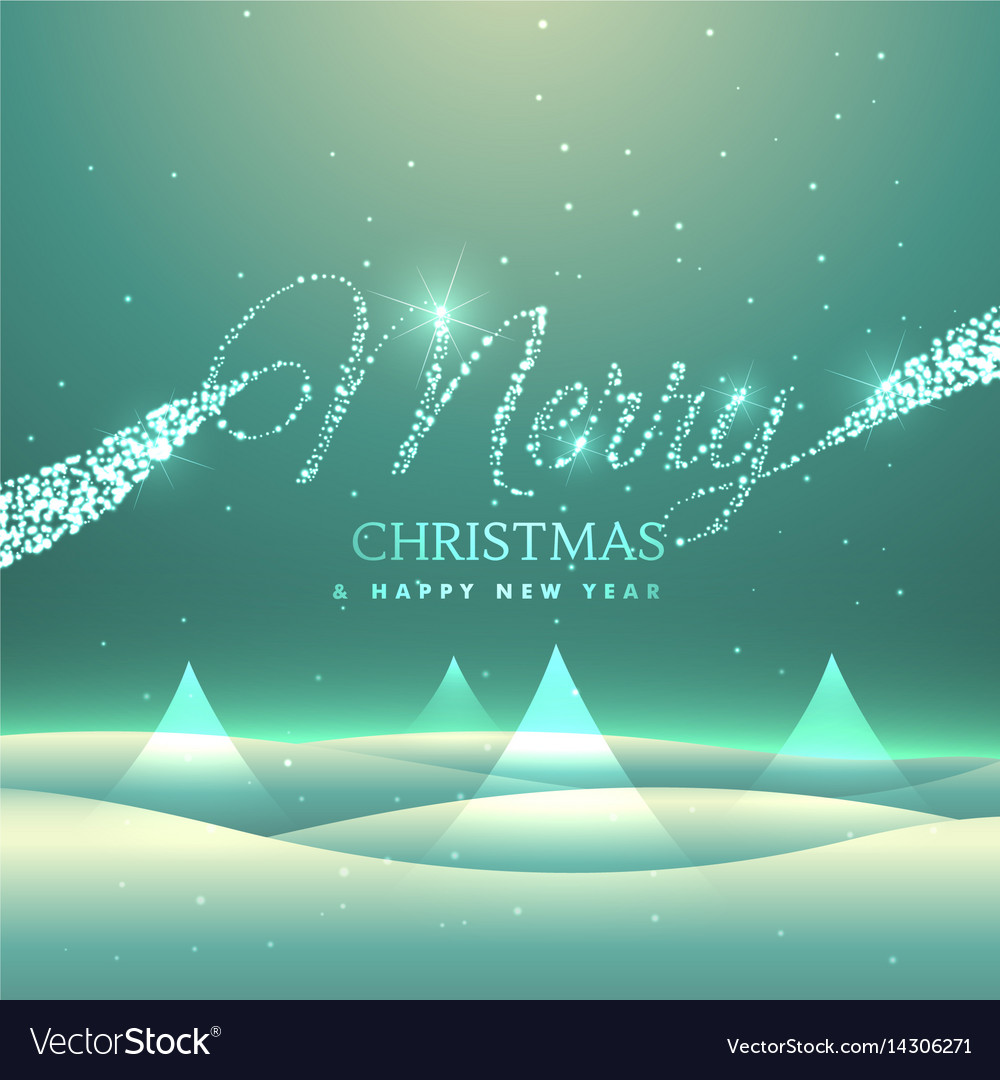 magical merry christmas greeting card design with vector image