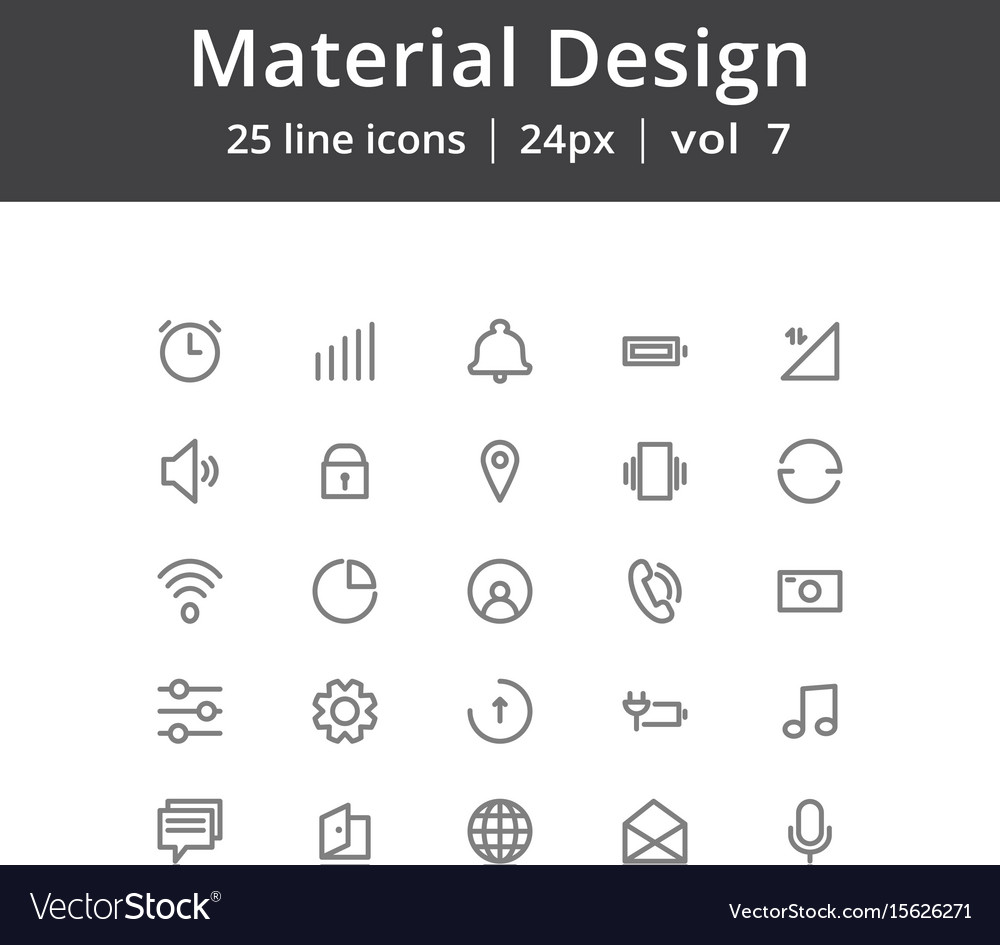 Material design line icons vector image