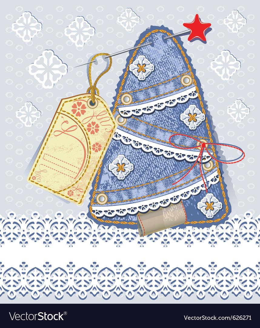 Merry christmas card background in denim scrapbook vector image