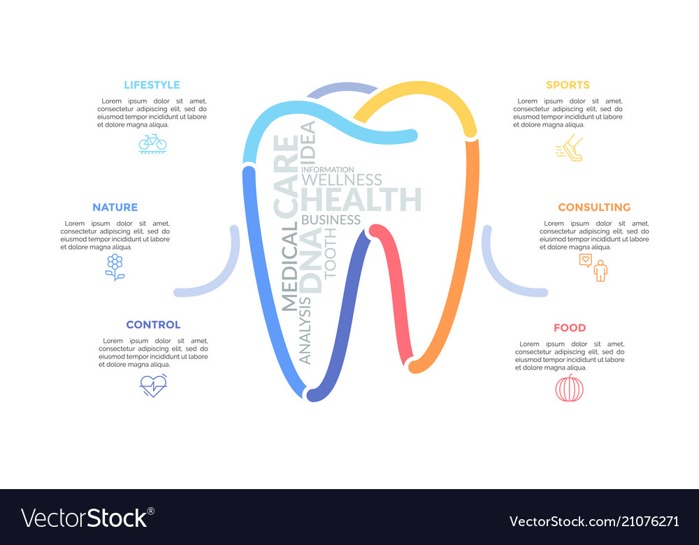 Multicolored lines forming tooth sign surrounded
