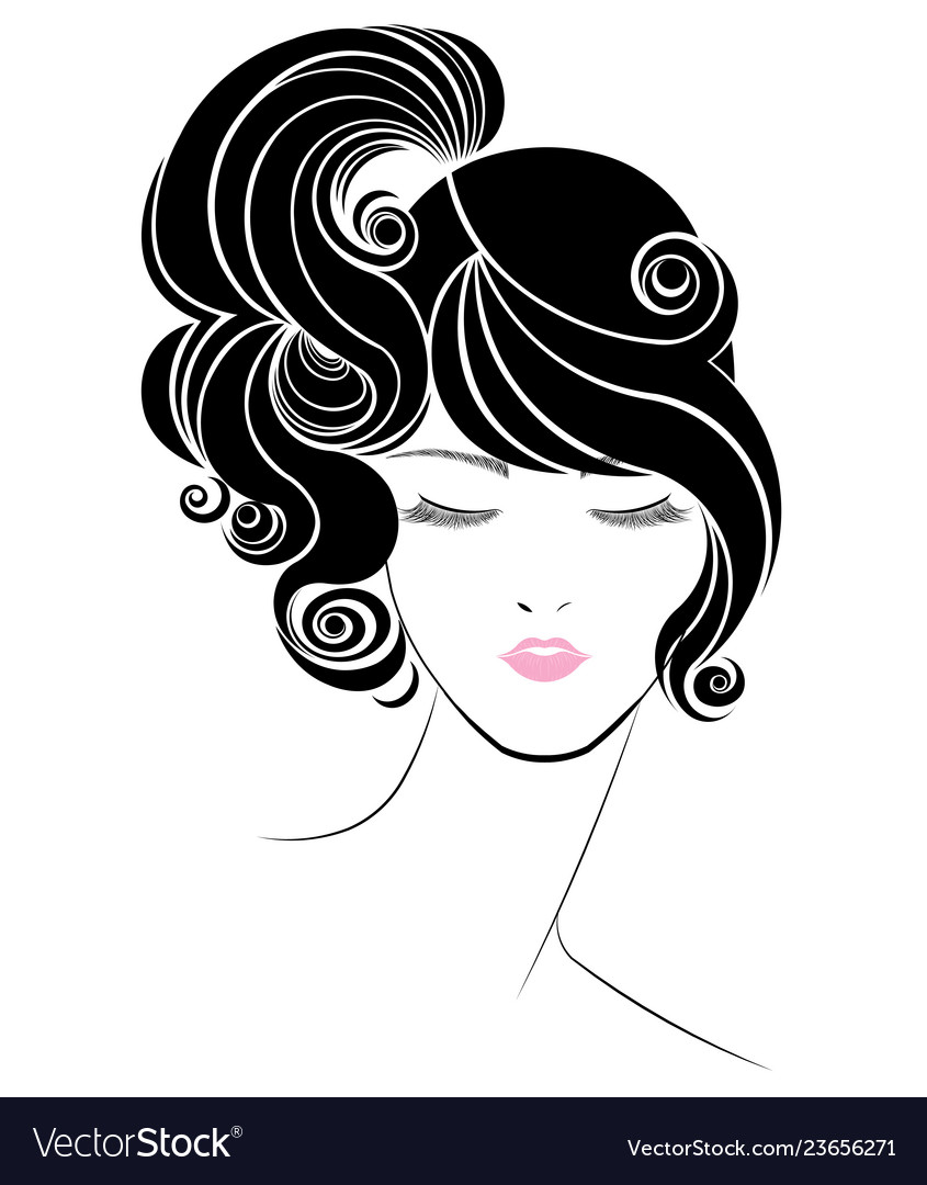Ponytail Hair Style Icon Logo Women Face On White Vector Image