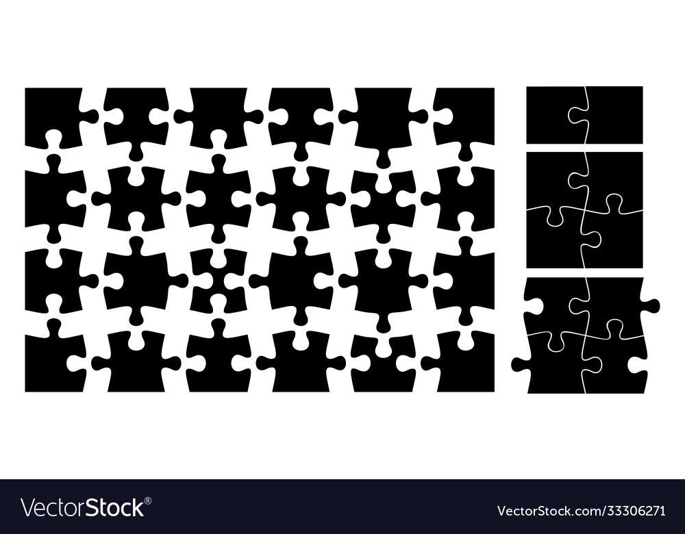 Puzzle pieces isolated black jigsaw element flat