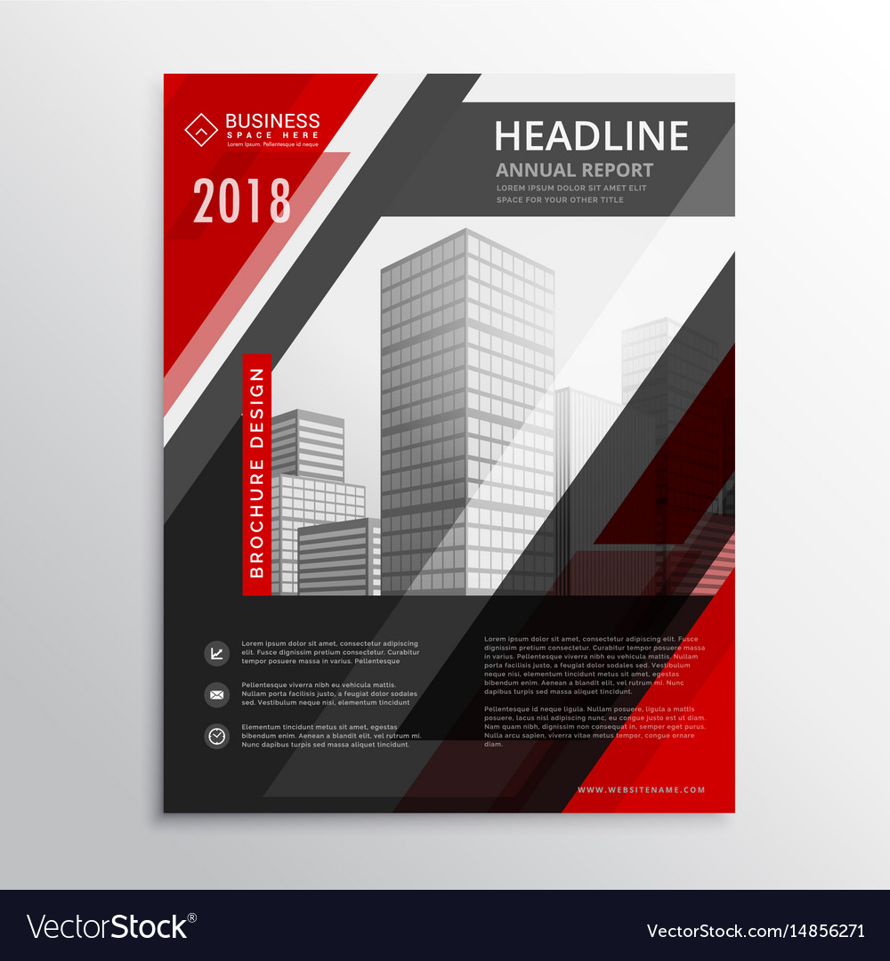 Red and black business brochure flyer design vector image