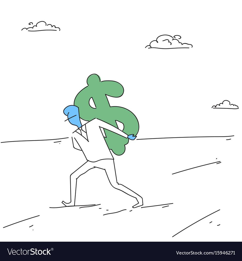 Rich business man hold dollar money finance vector image