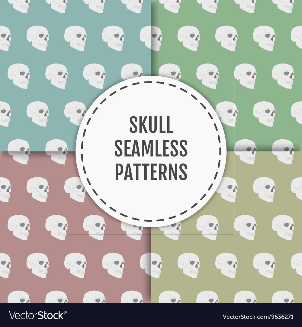Seamless pattern with skulls on blue green red