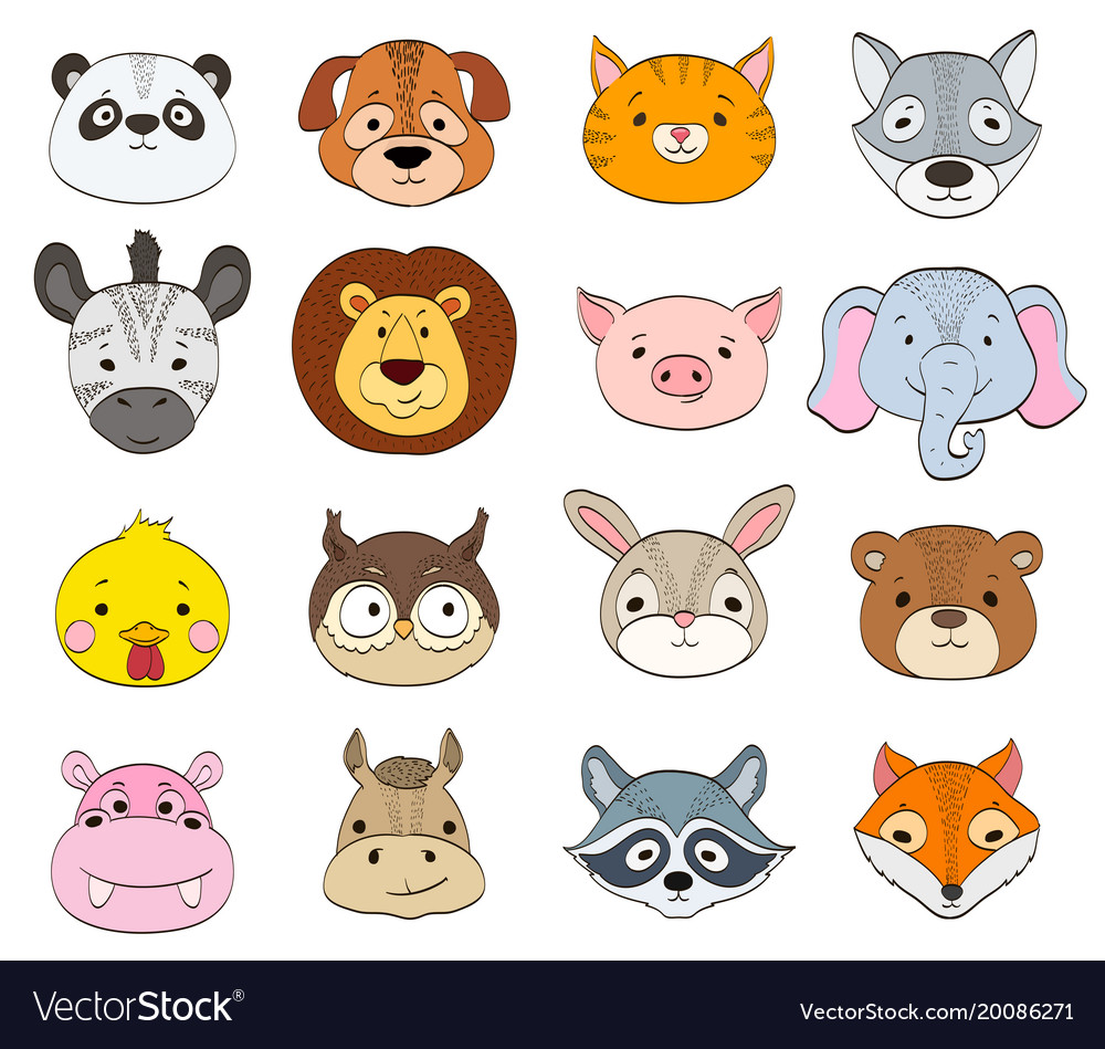 Set Cartoon Animal Faces On White Baanimals Vector Image