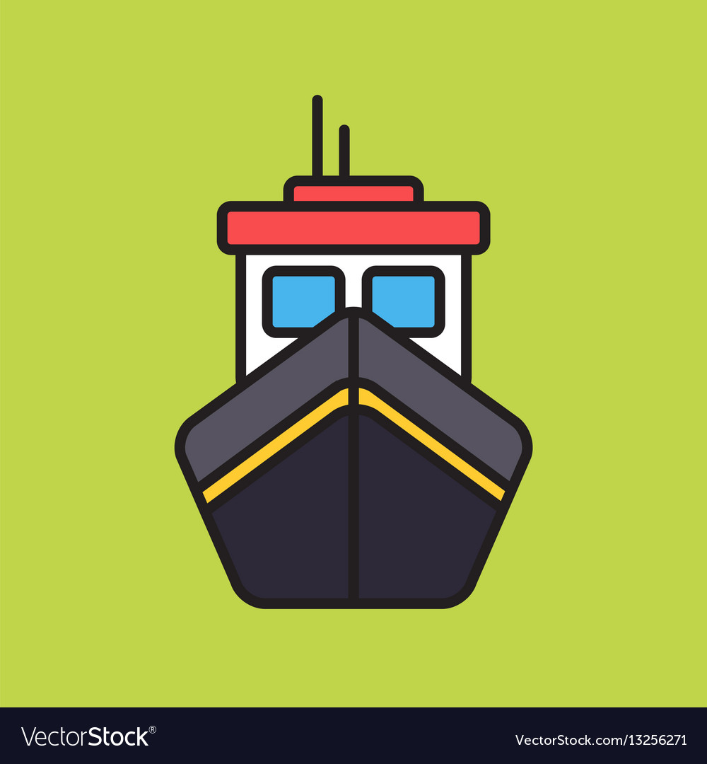 Simple boat colorful icon on green background