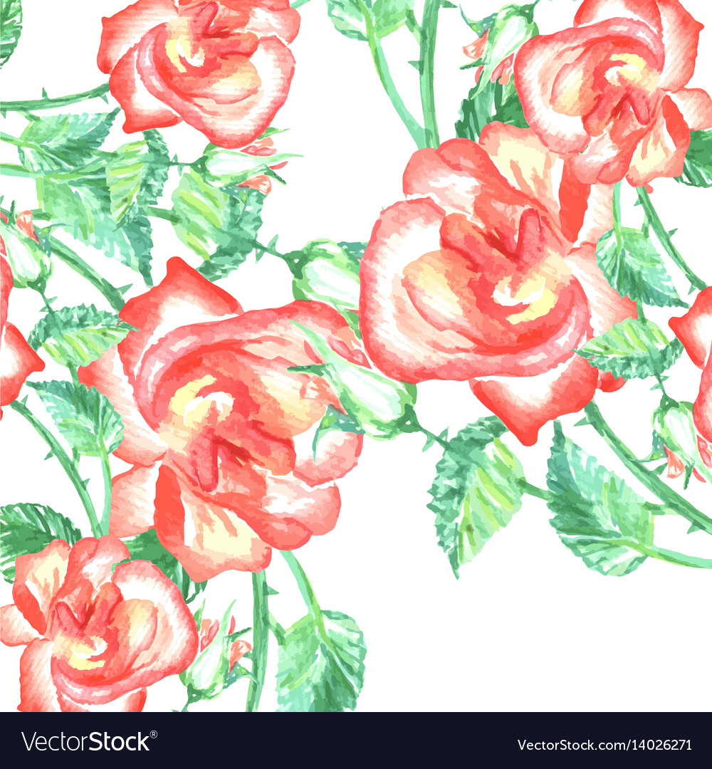 Spring romantic red roses background and green