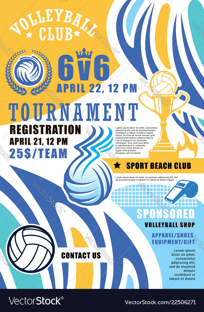 Volleyball sport game poster