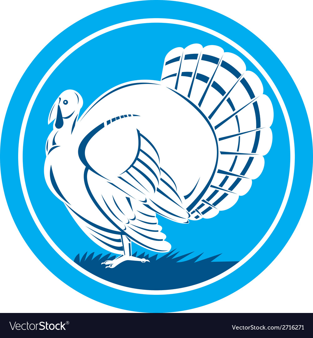 Wild Turkey Side View Circle Retro Royalty Free Vector Image