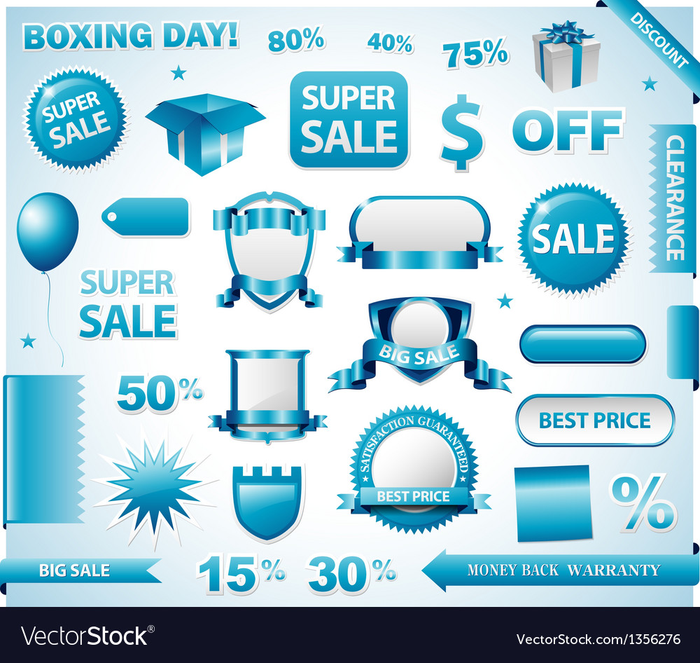 Blue price tags set vector image
