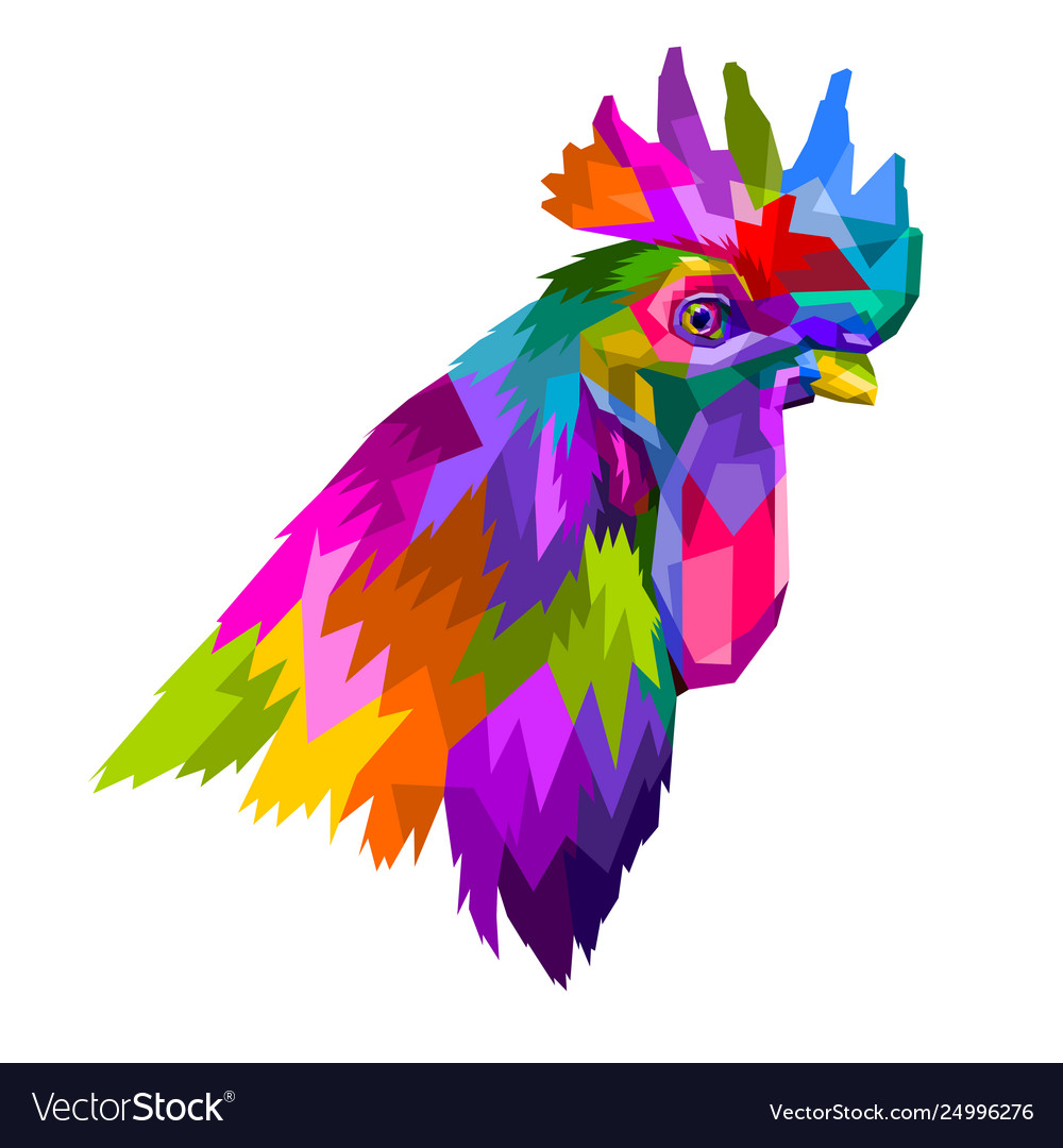 Colorful head rooster in pop art geometry style