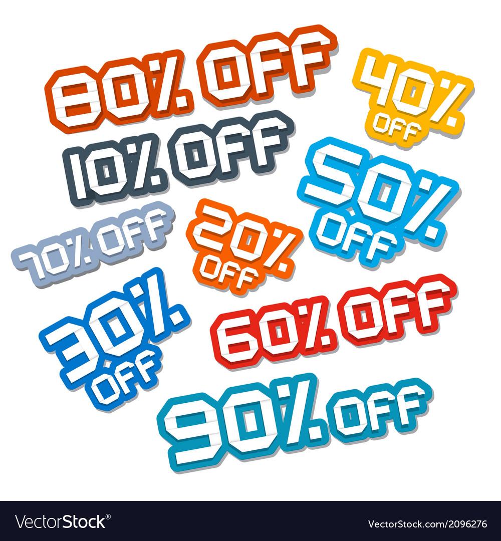 Colorful Paper Cut Discount Stickers Labels Set vector image