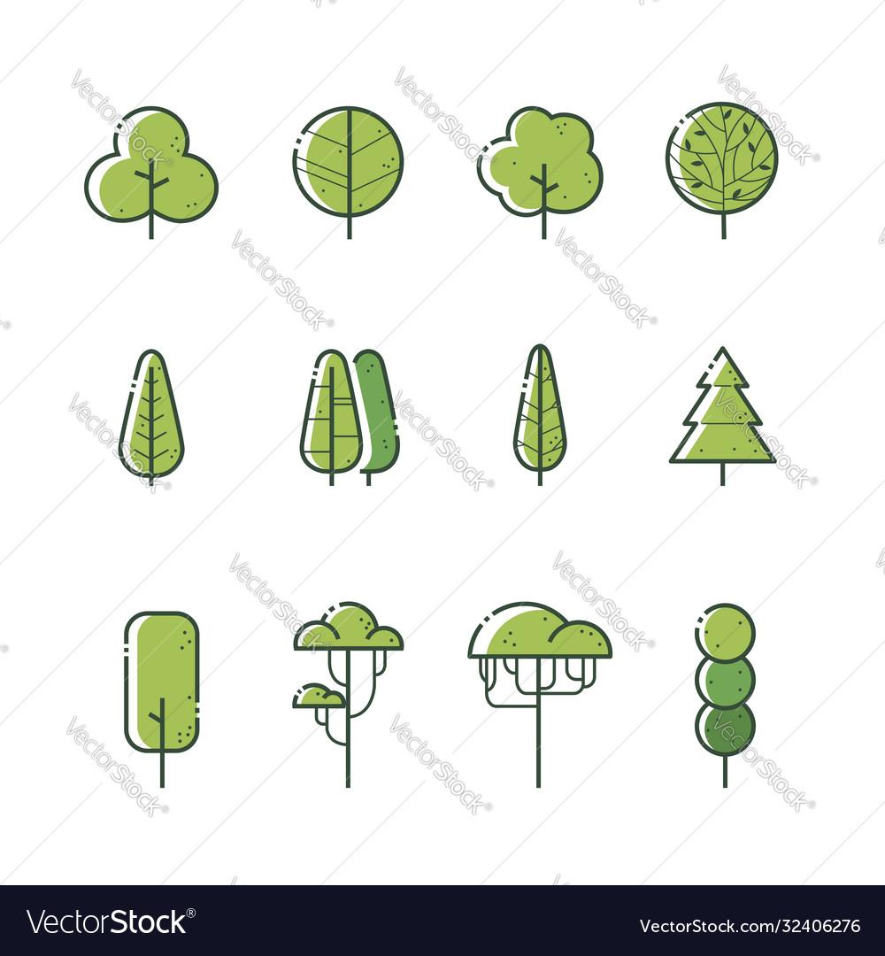 Different types tree icon set